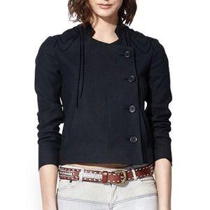 Maje Asymmetrical Black Linen Jacket / Blazer